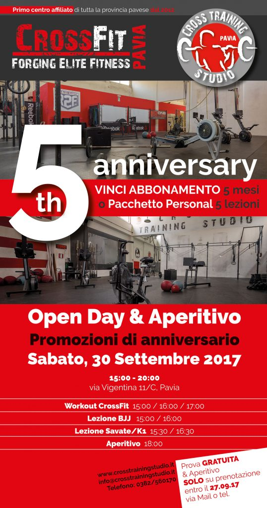 5° ANNIVERSARIO – OPEN DAY CROSS TRAINING STUDIO / CROSSFIT PAVIA